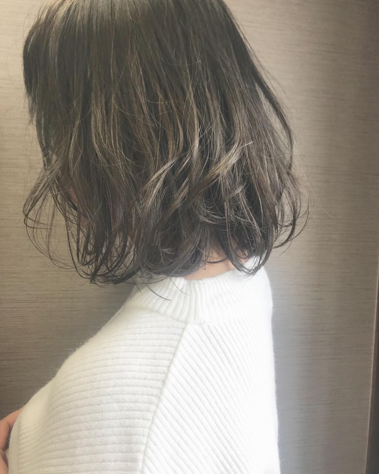ウェーブ アンニュイ 冬 ボブ ヘアスタイルや髪型の写真・画像