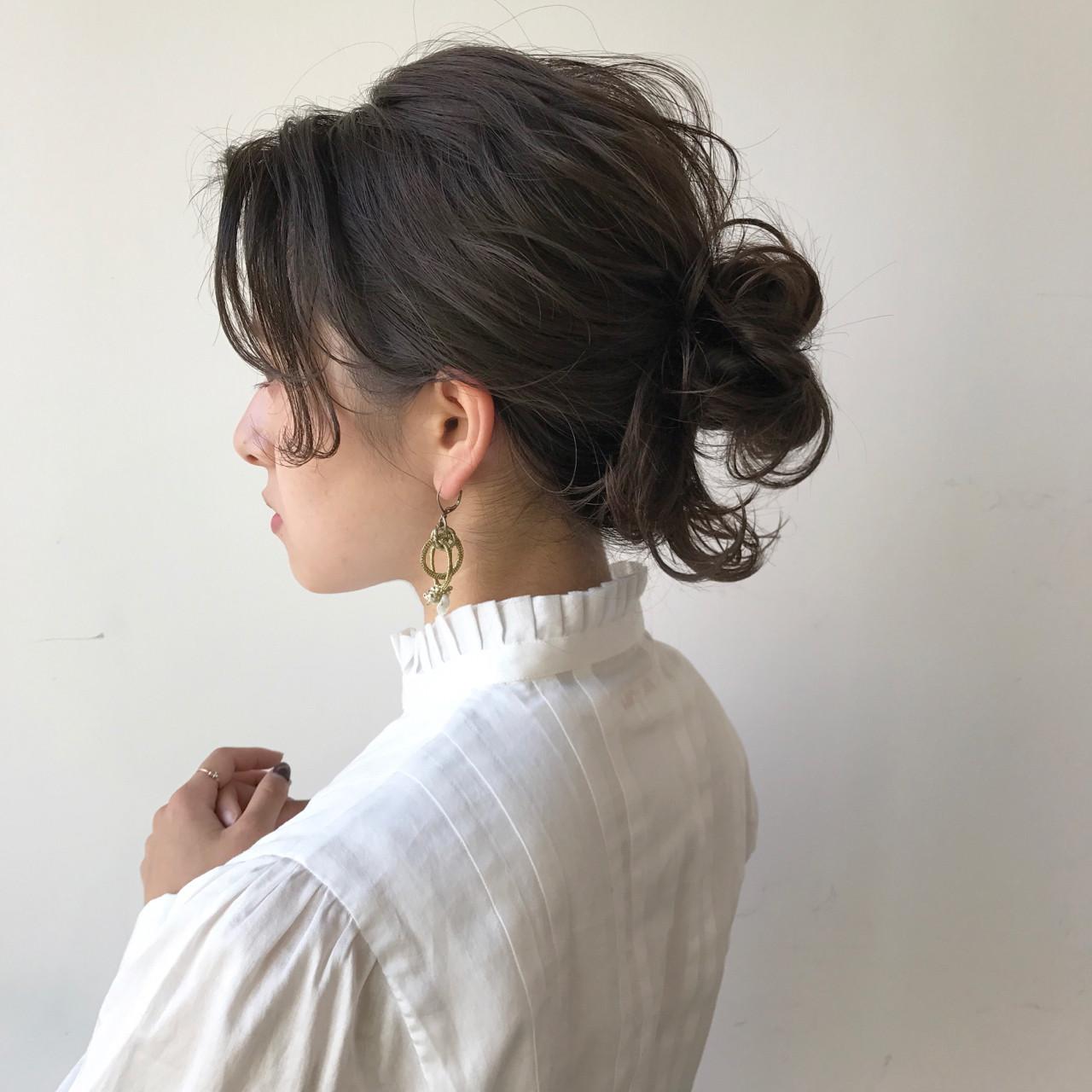 ミディアム ハーフアップ フリンジバング アッシュ ヘアスタイルや髪型の写真・画像