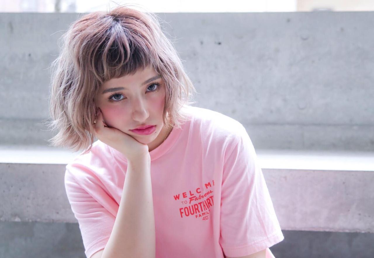 外国人風カラー アディクシーカラー ヘアアレンジ ボブ ヘアスタイルや髪型の写真・画像