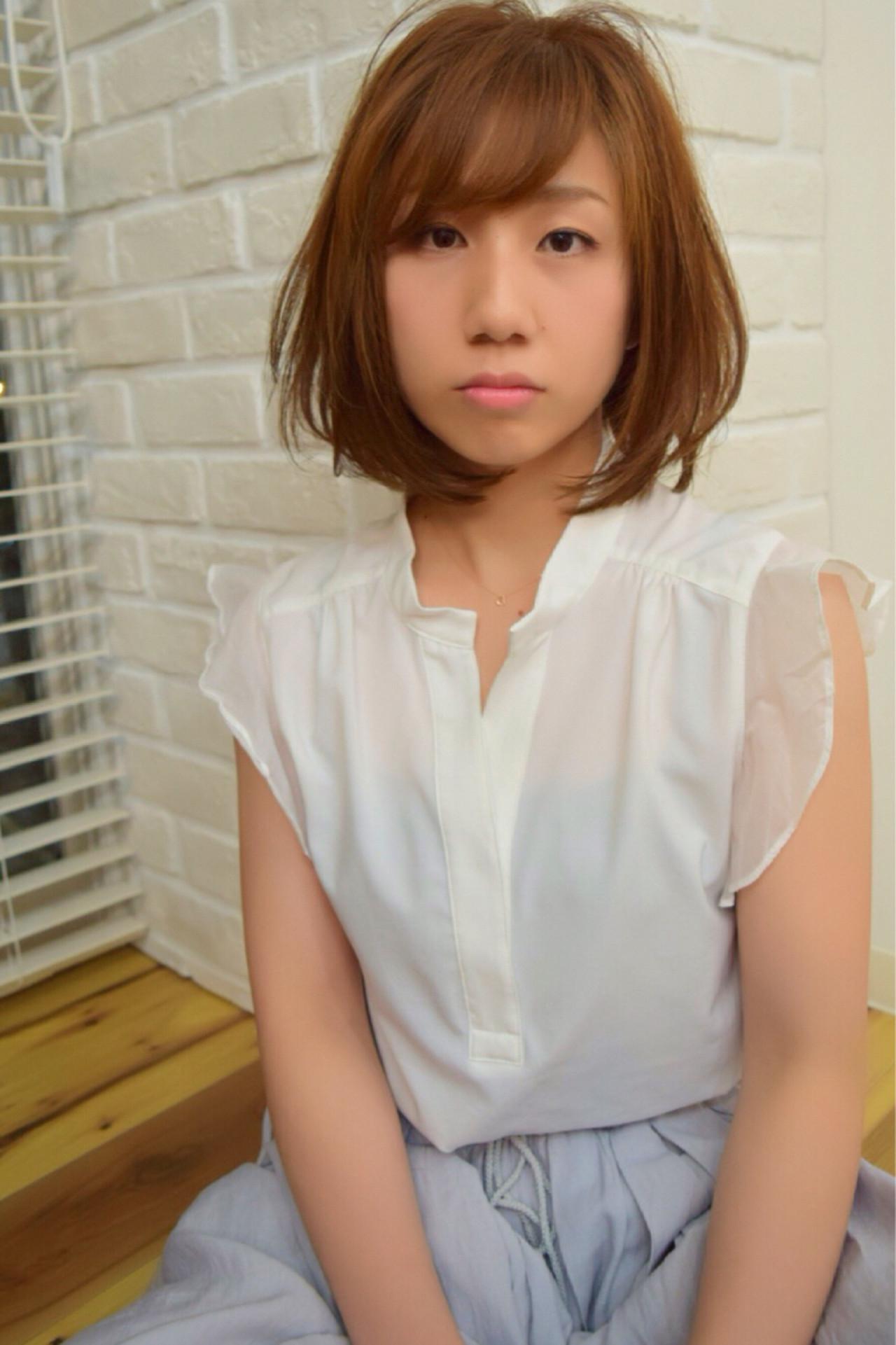 フェミニン ナチュラル 渋谷系 ボブ ヘアスタイルや髪型の写真・画像