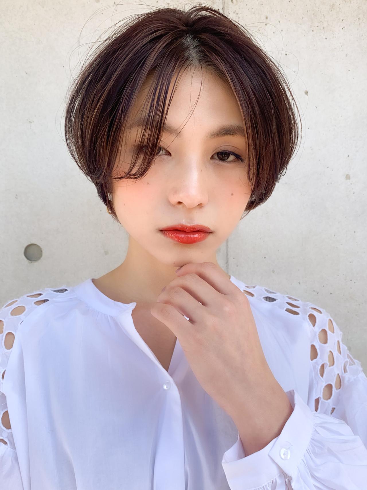 ふんわり前髪 ナチュラル ハイライト ショートボブ ヘアスタイルや髪型の写真・画像 | 永沢 由希代 / Agnos 青山