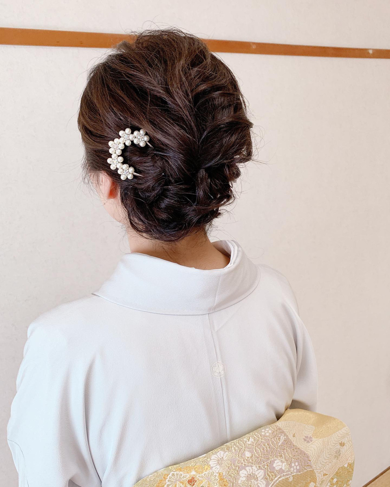 黒髪 結婚式 ヘアアレンジ 訪問着 ヘアスタイルや髪型の写真・画像