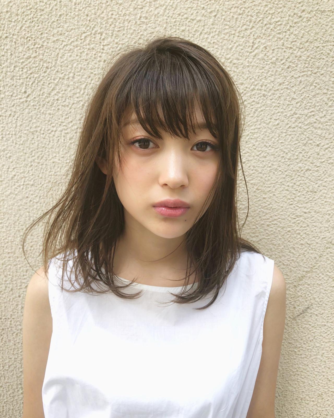 前髪あり ミディアム 秋 デート ヘアスタイルや髪型の写真・画像