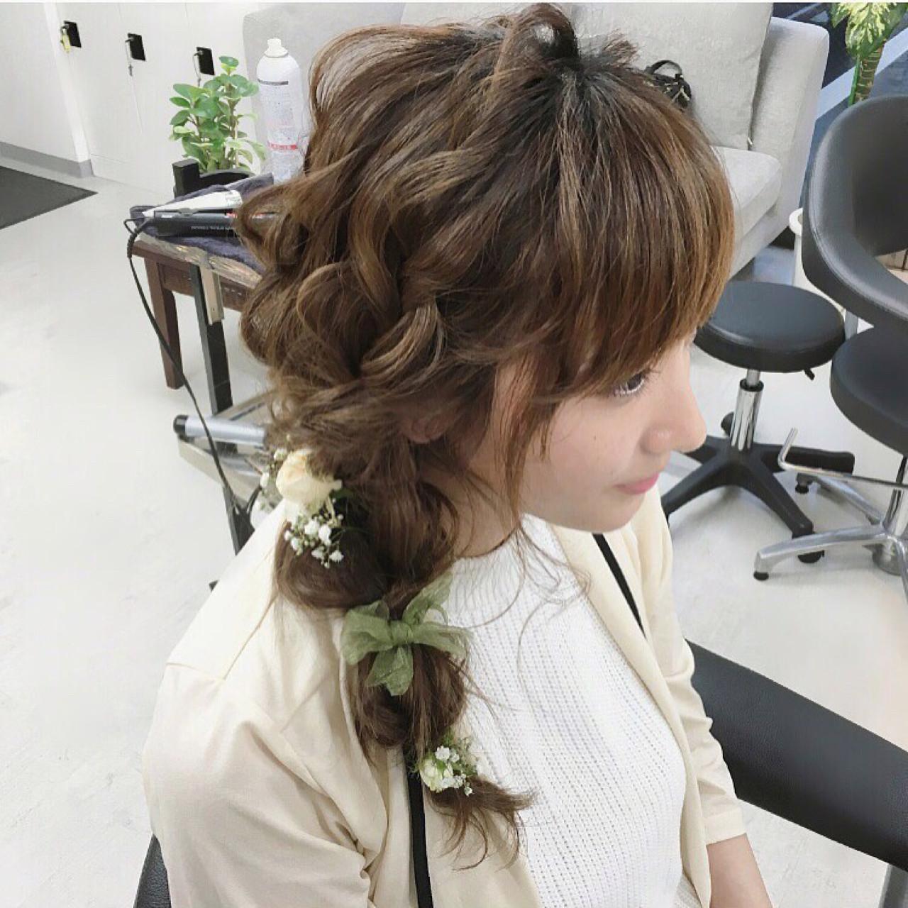 結婚式 ナチュラル 大人かわいい ヘアアレンジ ヘアスタイルや髪型の写真・画像