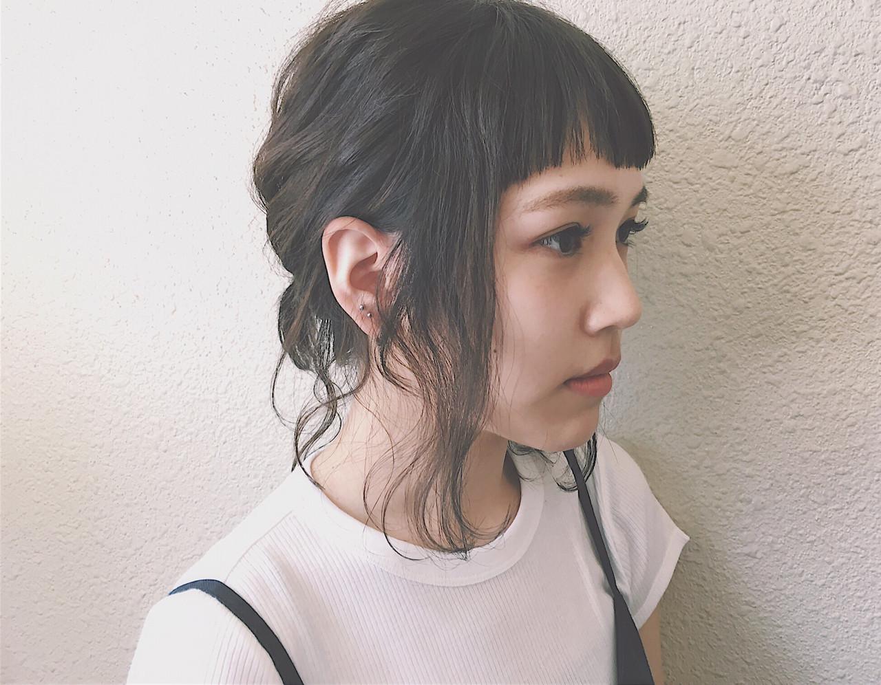 簡単ヘアアレンジ ショート ワイドバング 前髪あり ヘアスタイルや髪型の写真・画像