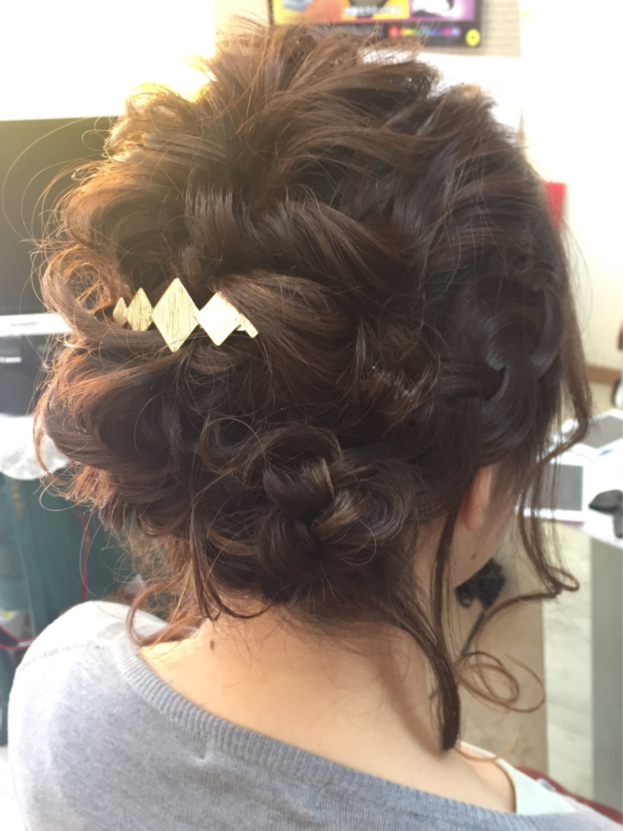 大人かわいい 結婚式 編み込み ミディアム ヘアスタイルや髪型の写真・画像
