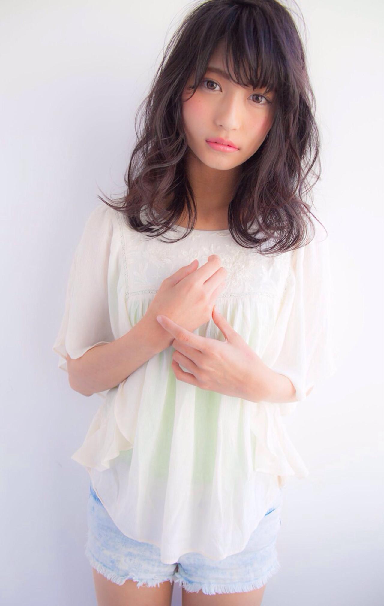 春 透明感 フェミニン ガーリー ヘアスタイルや髪型の写真・画像 | 大西菜南子 /