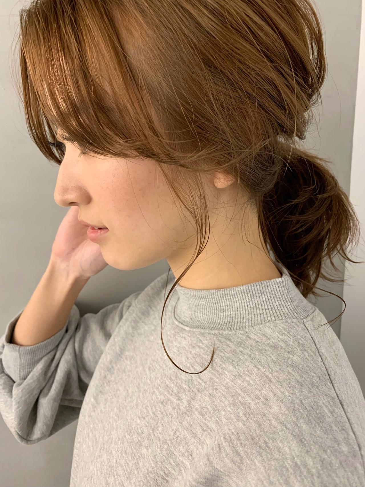 ポニーテール 簡単ヘアアレンジ ヘアアレンジ ミディアム ヘアスタイルや髪型の写真・画像
