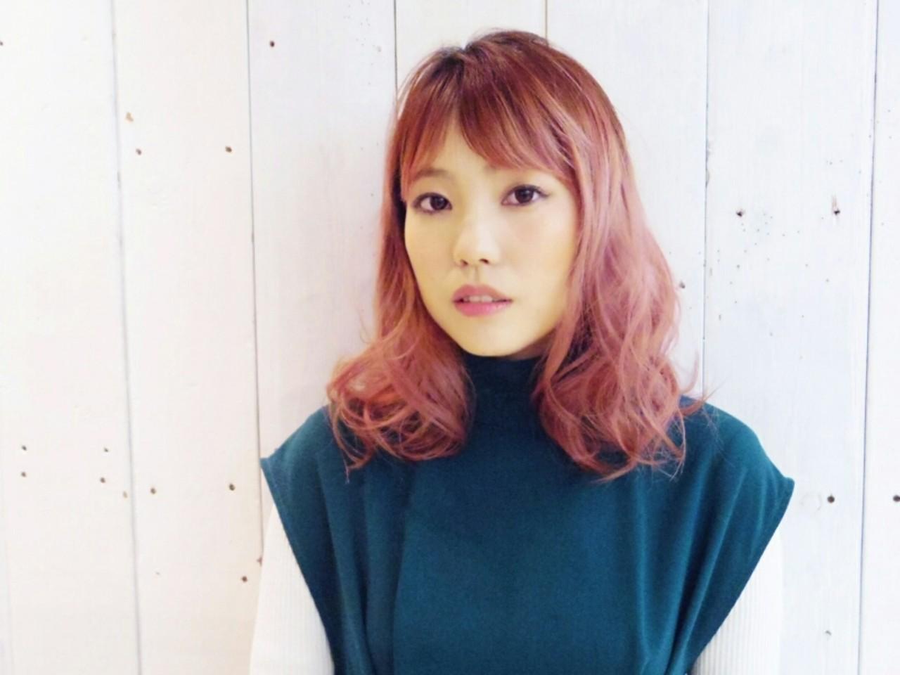 ブリーチ 透明感 アンニュイ ピンク ヘアスタイルや髪型の写真・画像