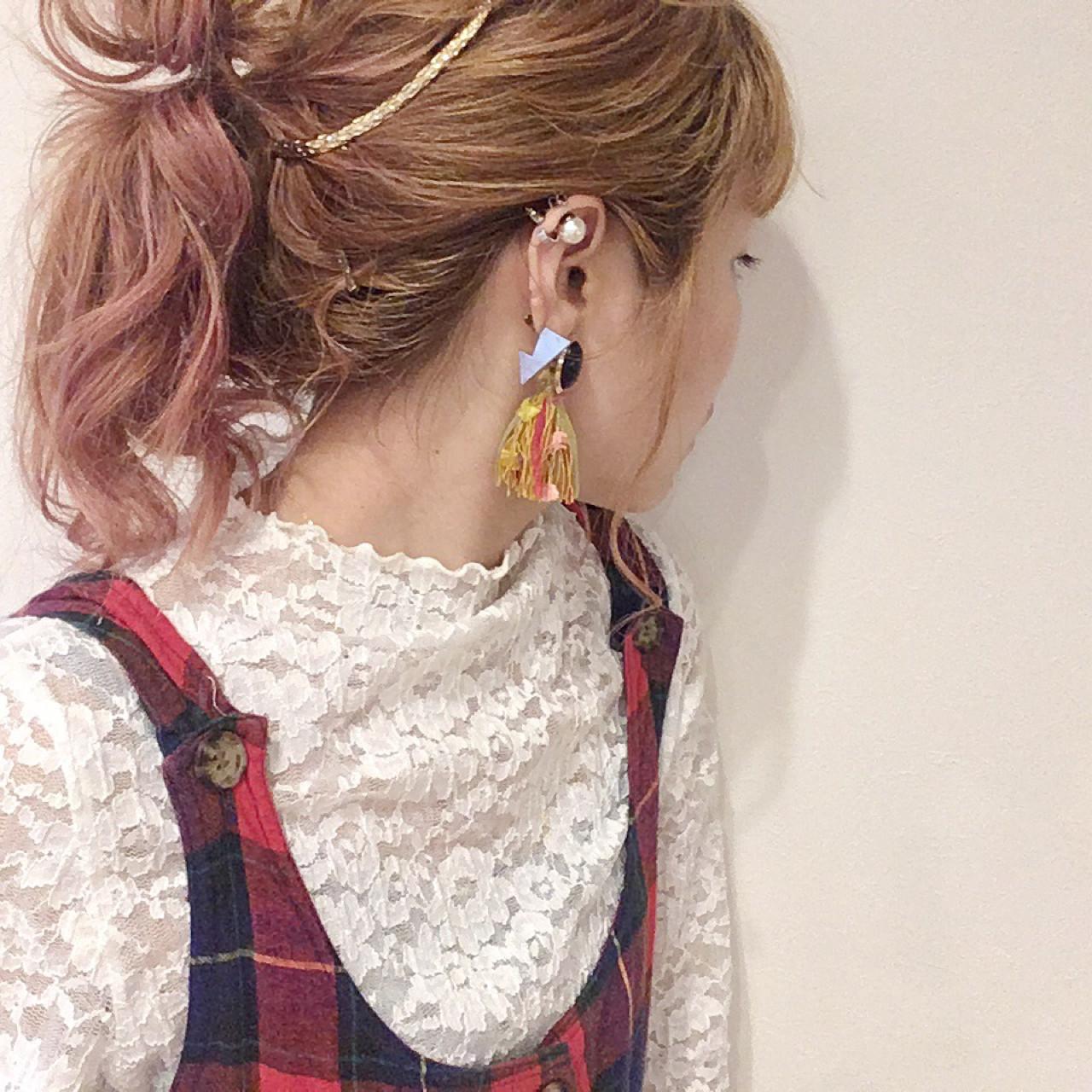 ローライト ハイライト 簡単ヘアアレンジ ガーリー ヘアスタイルや髪型の写真・画像