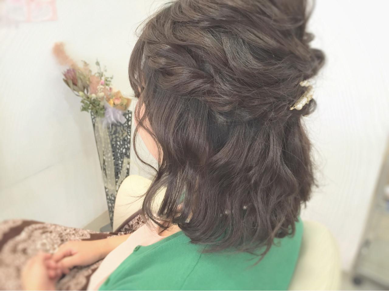 編み込み 結婚式 二次会 ボブ ヘアスタイルや髪型の写真・画像