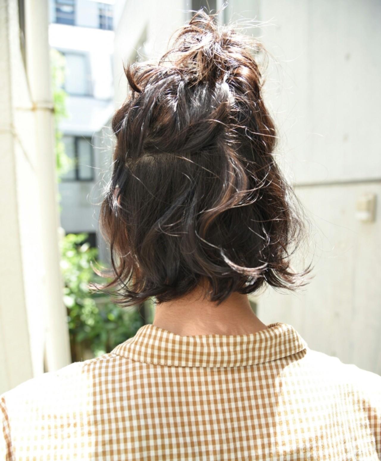 ショート ボブ ヘアアレンジ ナチュラル ヘアスタイルや髪型の写真・画像 | 山口 華絵 Lépés Nakameguro / Lépés