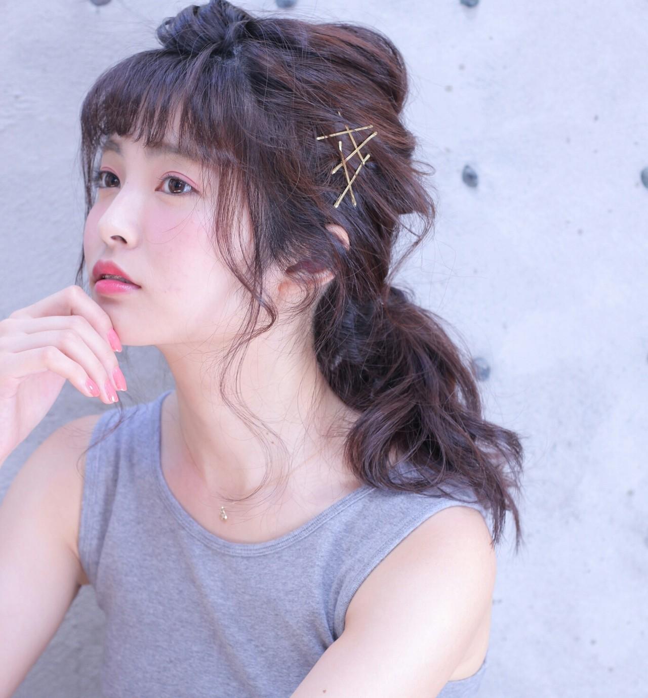 簡単ヘアアレンジ セミロング ヘアアクセ ヘアアレンジ ヘアスタイルや髪型の写真・画像 | Wataru Maeda / cache cache
