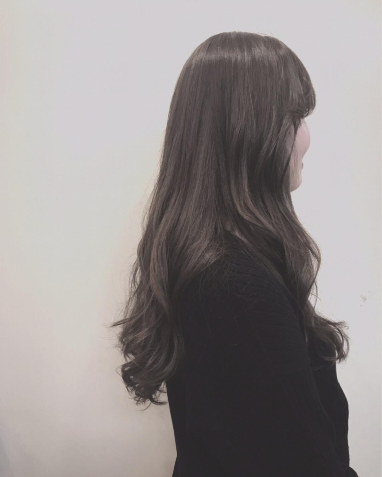 ロング 外国人風カラー 韓国ヘア グレージュ ヘアスタイルや髪型の写真・画像