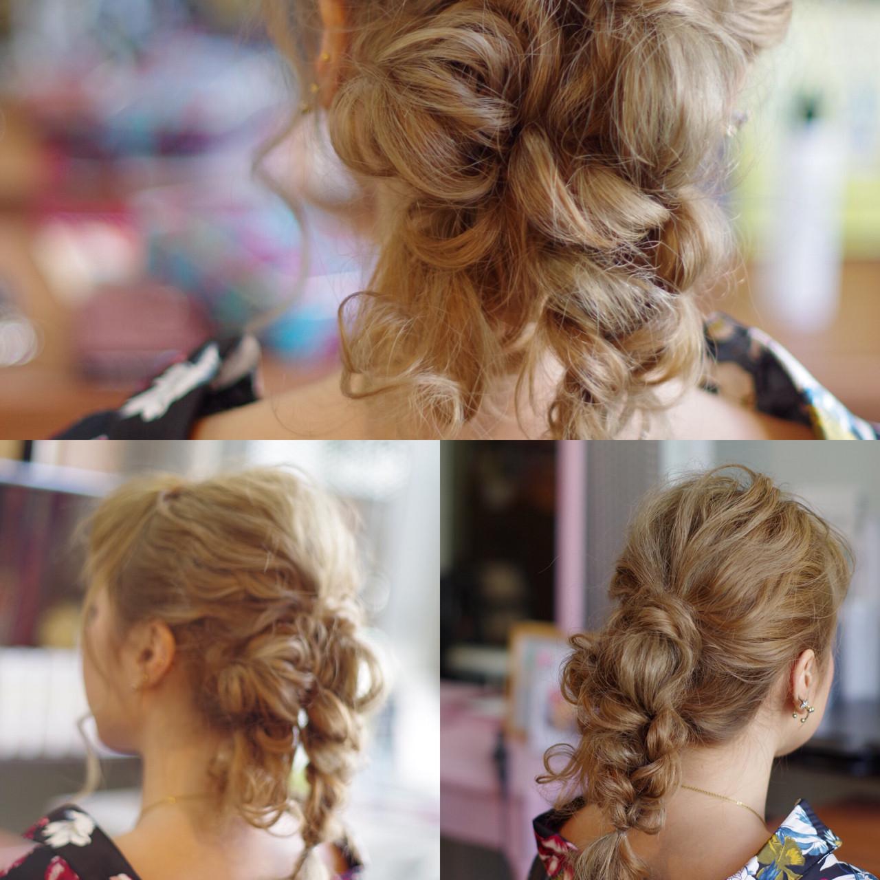 大人女子 セミロング ガーリー ヘアアレンジ ヘアスタイルや髪型の写真・画像 | ken / sora