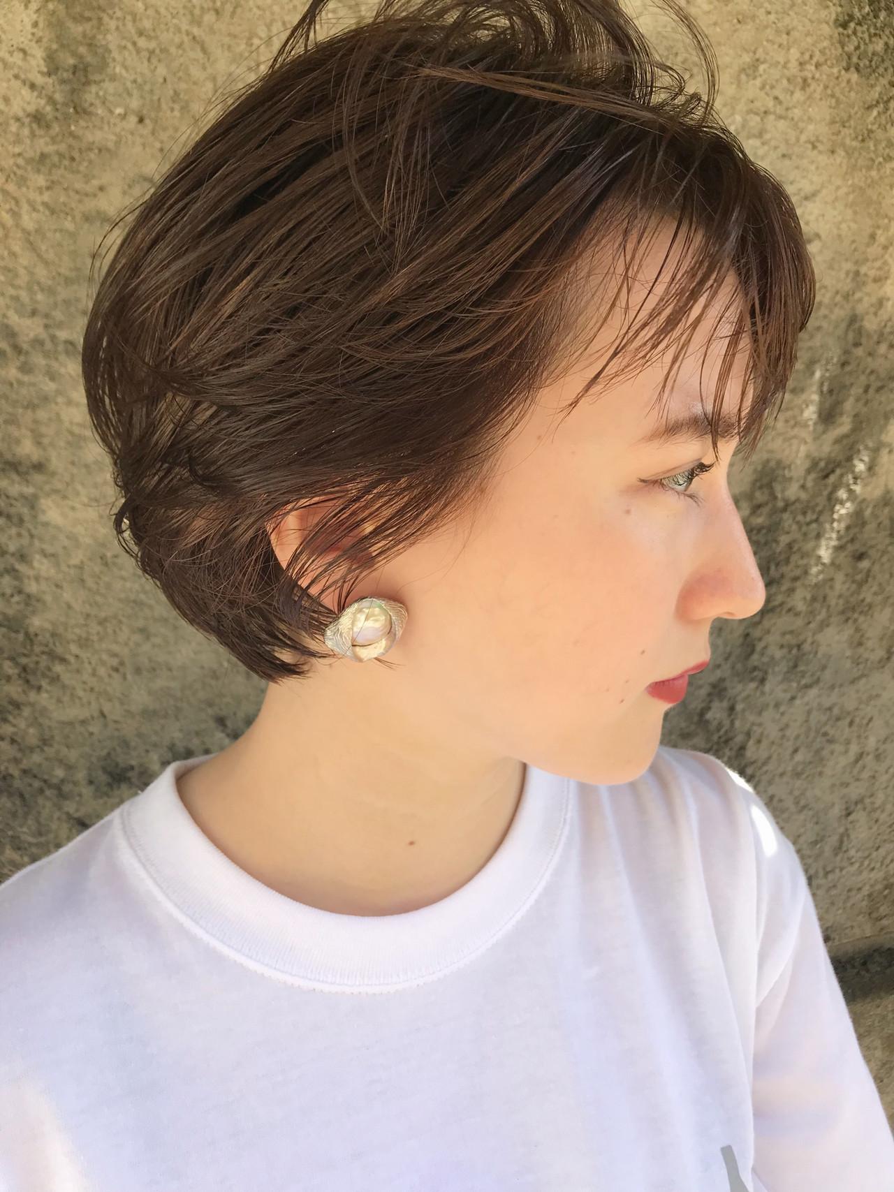 透明感 ナチュラル ハンサムショート デート ヘアスタイルや髪型の写真・画像