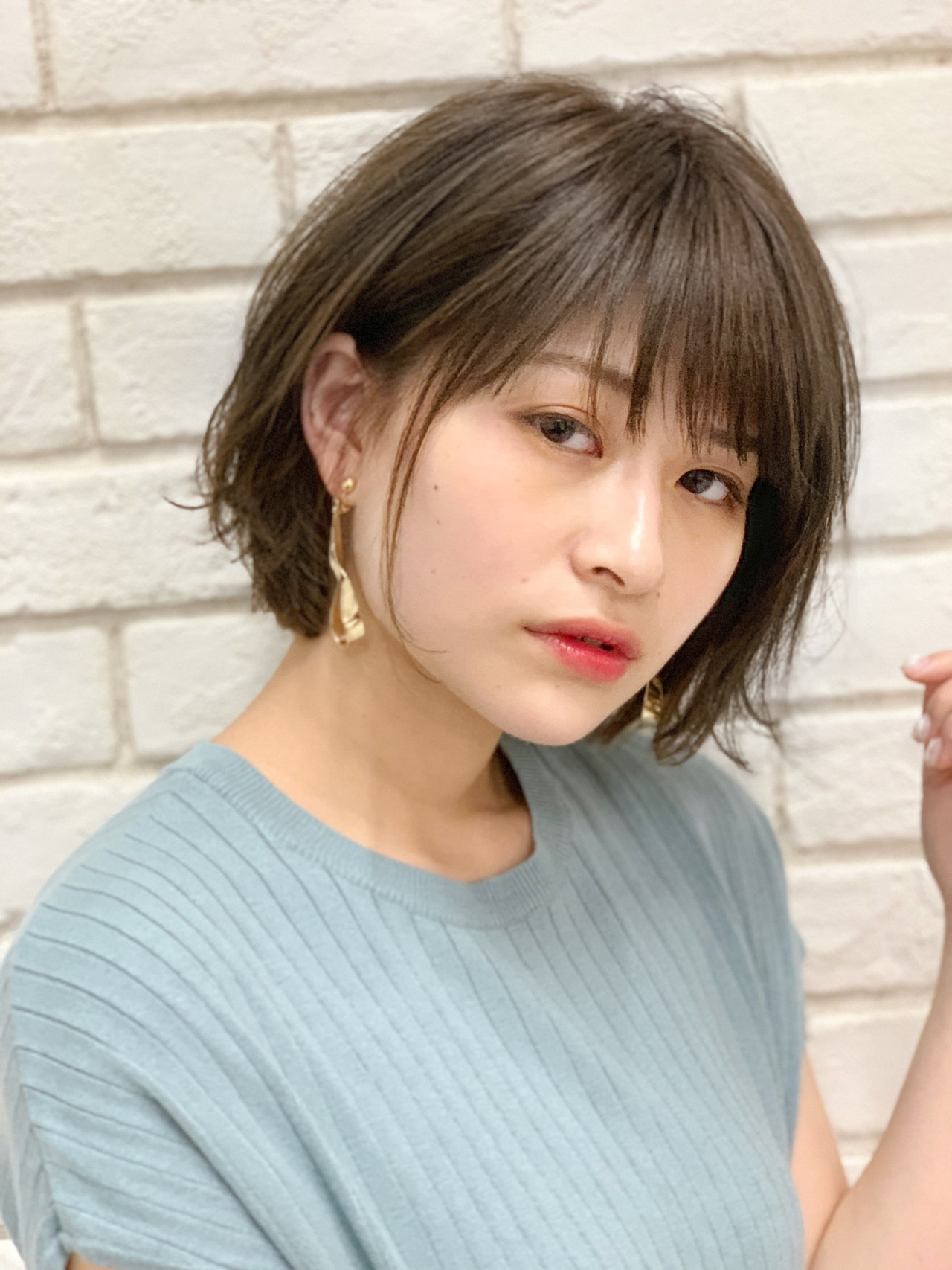 ボブ パーマ グレージュ  ヘアスタイルや髪型の写真・画像 | 國武泰志 / Cloe
