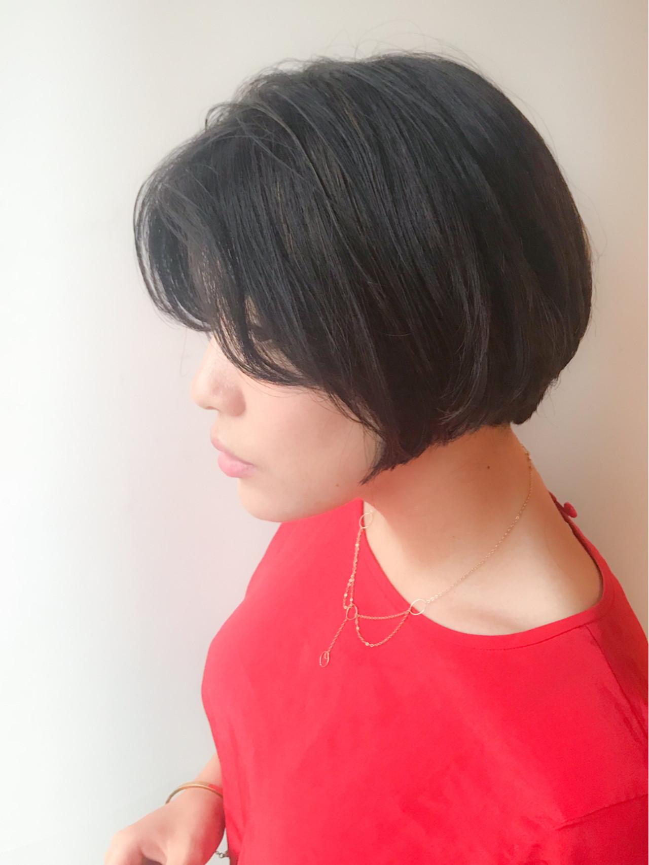 オフィス モテ髪 ショートボブ コンサバ ヘアスタイルや髪型の写真・画像