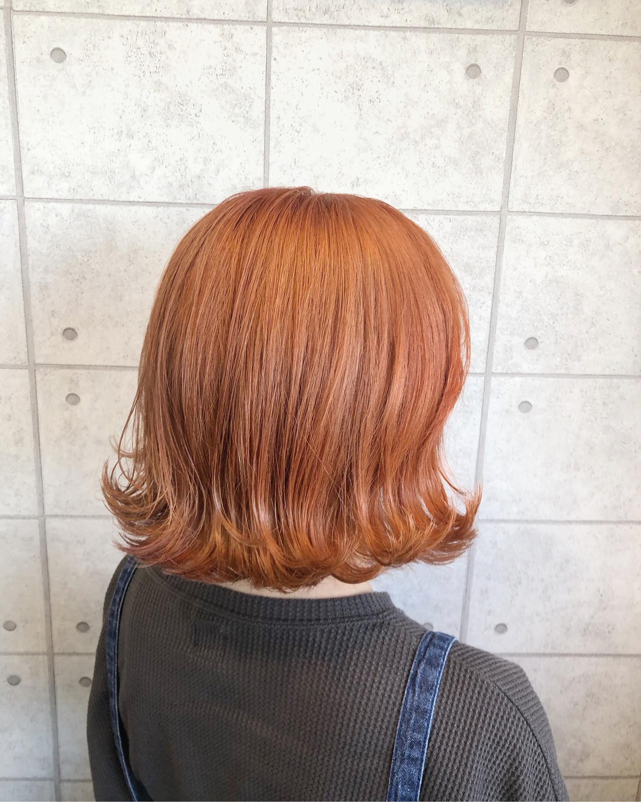 アプリコットオレンジ モード オレンジ ボブ ヘアスタイルや髪型の写真・画像