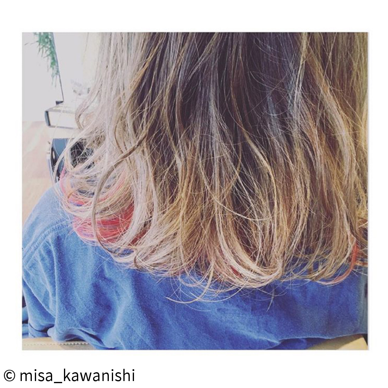ハイトーン ピンク ウェーブ ハイライト ヘアスタイルや髪型の写真・画像