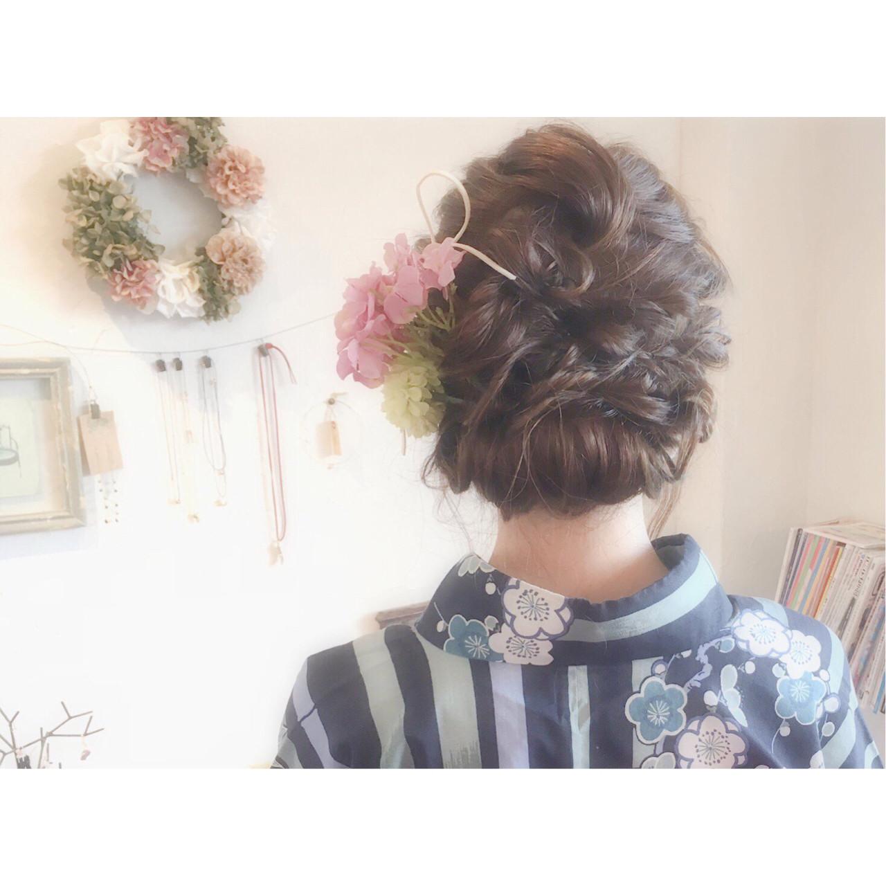ハイライト ヘアアレンジ 花火大会 夏 ヘアスタイルや髪型の写真・画像