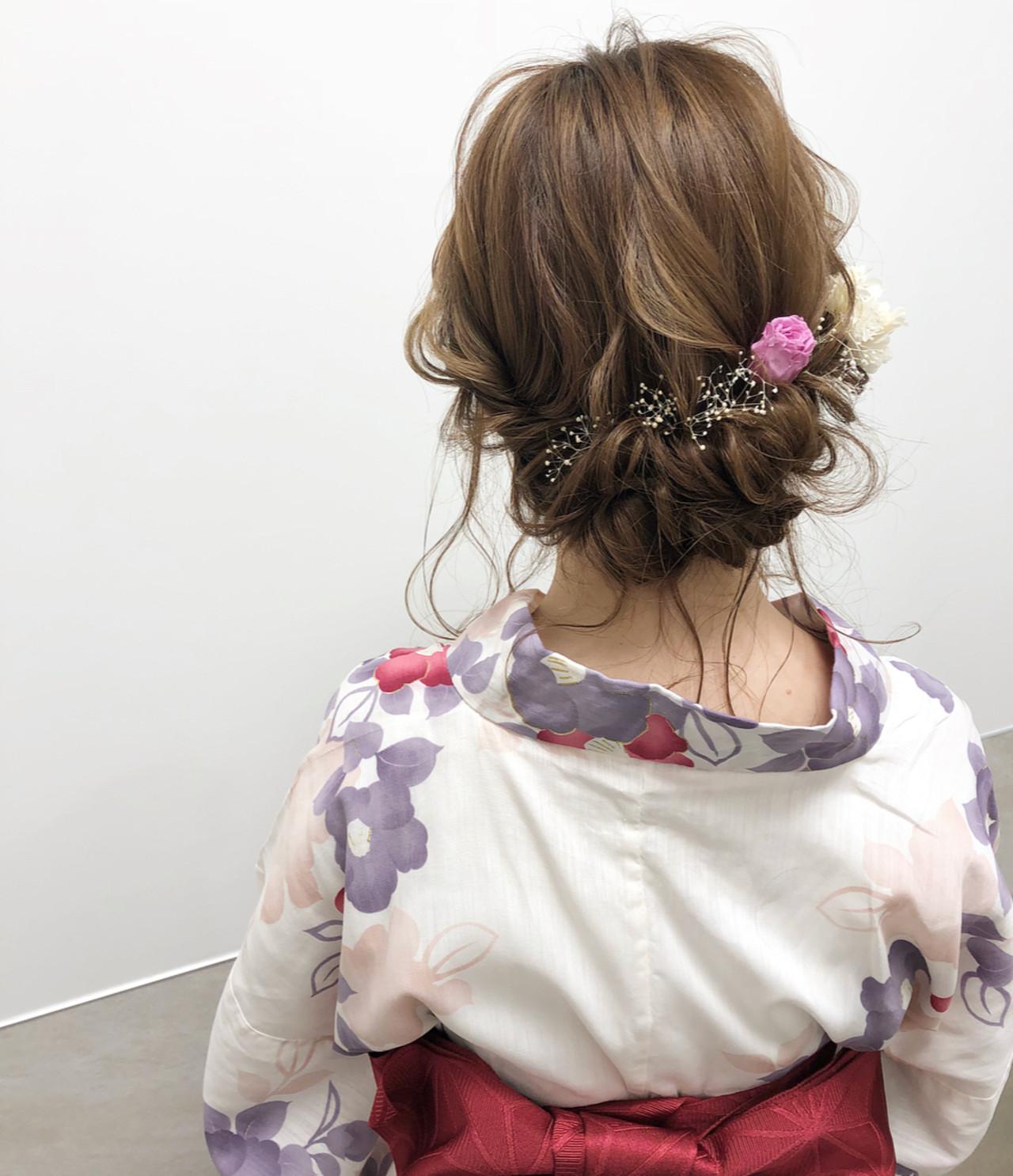 ギブソンタック 浴衣ヘア ミディアム 結婚式 ヘアスタイルや髪型の写真・画像