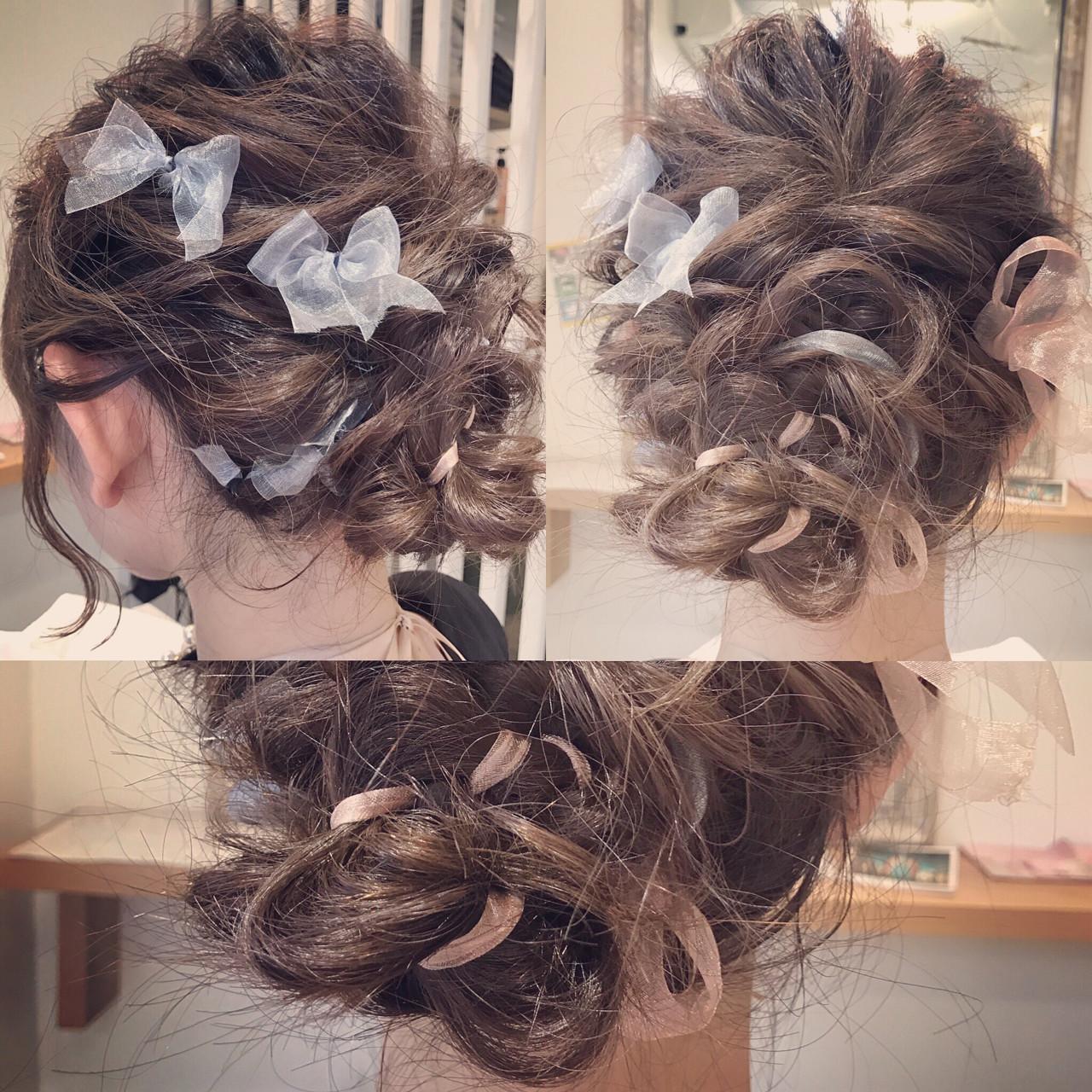 セミロング 結婚式 簡単ヘアアレンジ ヘアアレンジ ヘアスタイルや髪型の写真・画像