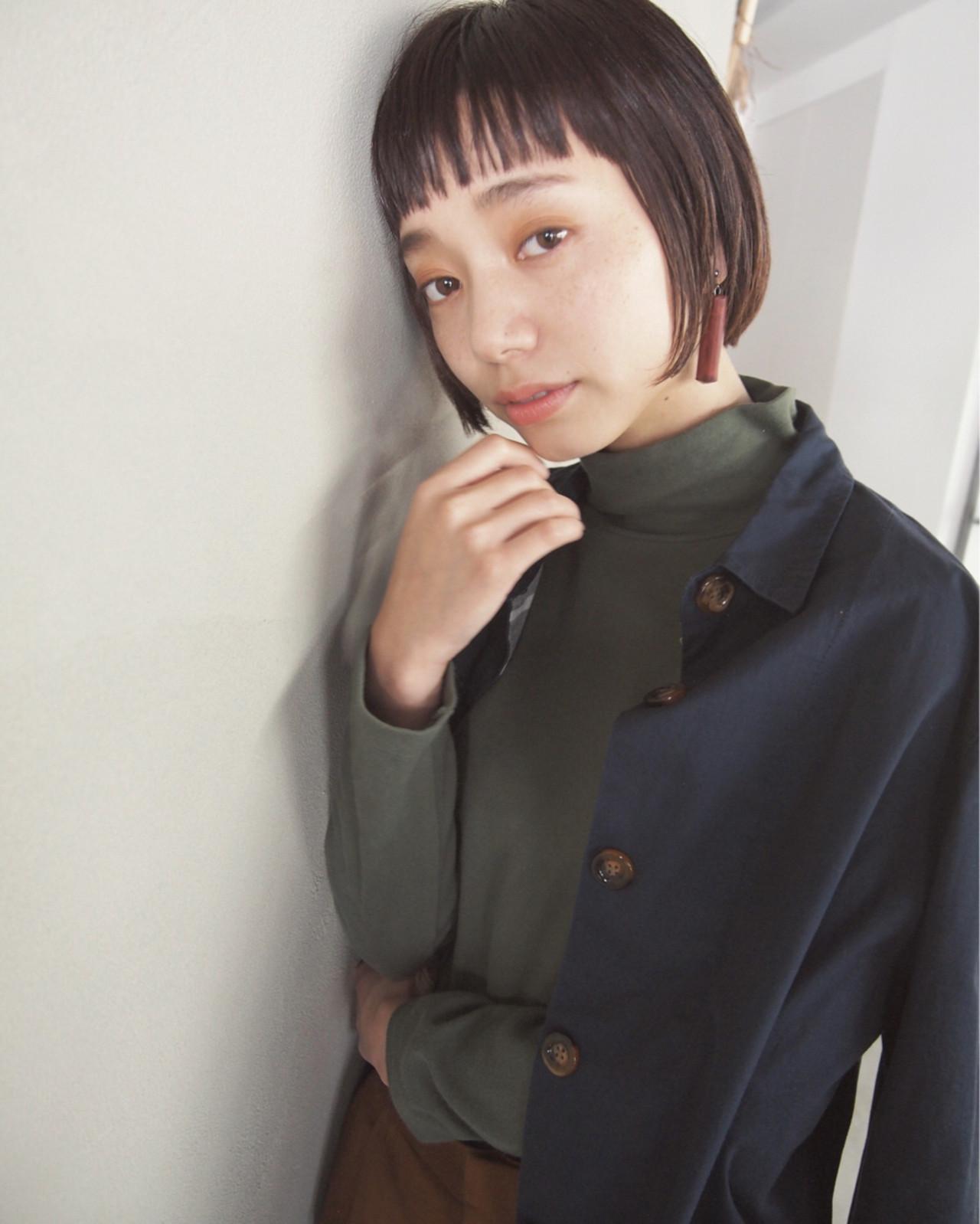 ナチュラル ショートボブ ショート 暗髪 ヘアスタイルや髪型の写真・画像 | UEKI/nanuk / nanuk二子玉川