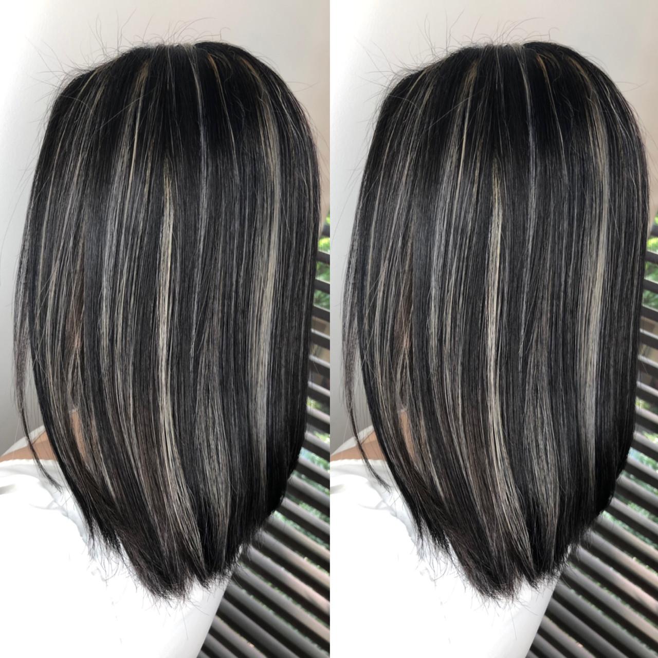 ヘアアレンジ ハイライト バレイヤージュ 外国人風カラー ヘアスタイルや髪型の写真・画像