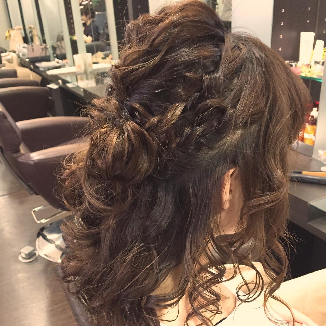 ショート 簡単ヘアアレンジ フェミニン セミロング ヘアスタイルや髪型の写真・画像 | 稲野 剛 / pikaichi 熊本上通り店