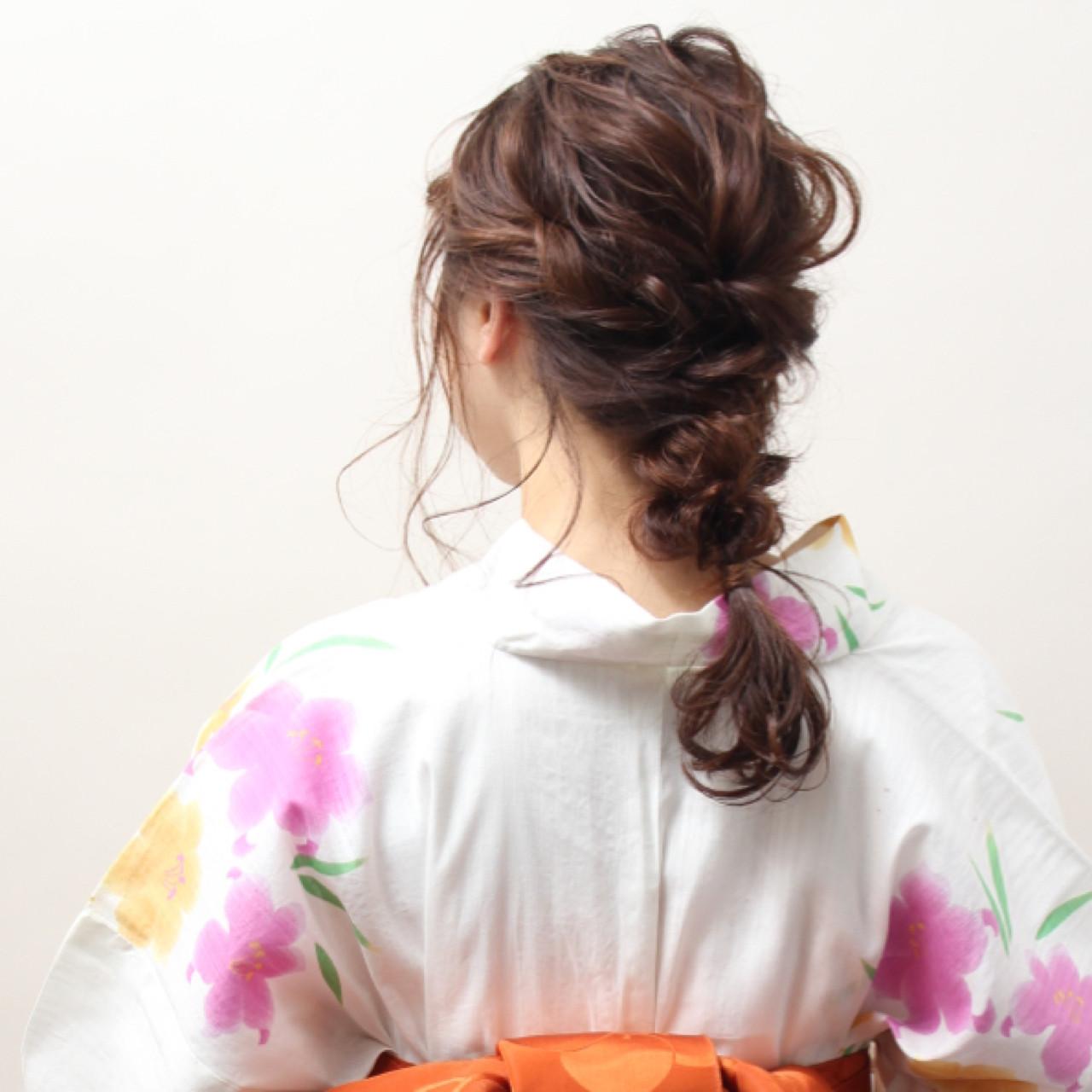 夏 簡単ヘアアレンジ ショート お祭り ヘアスタイルや髪型の写真・画像