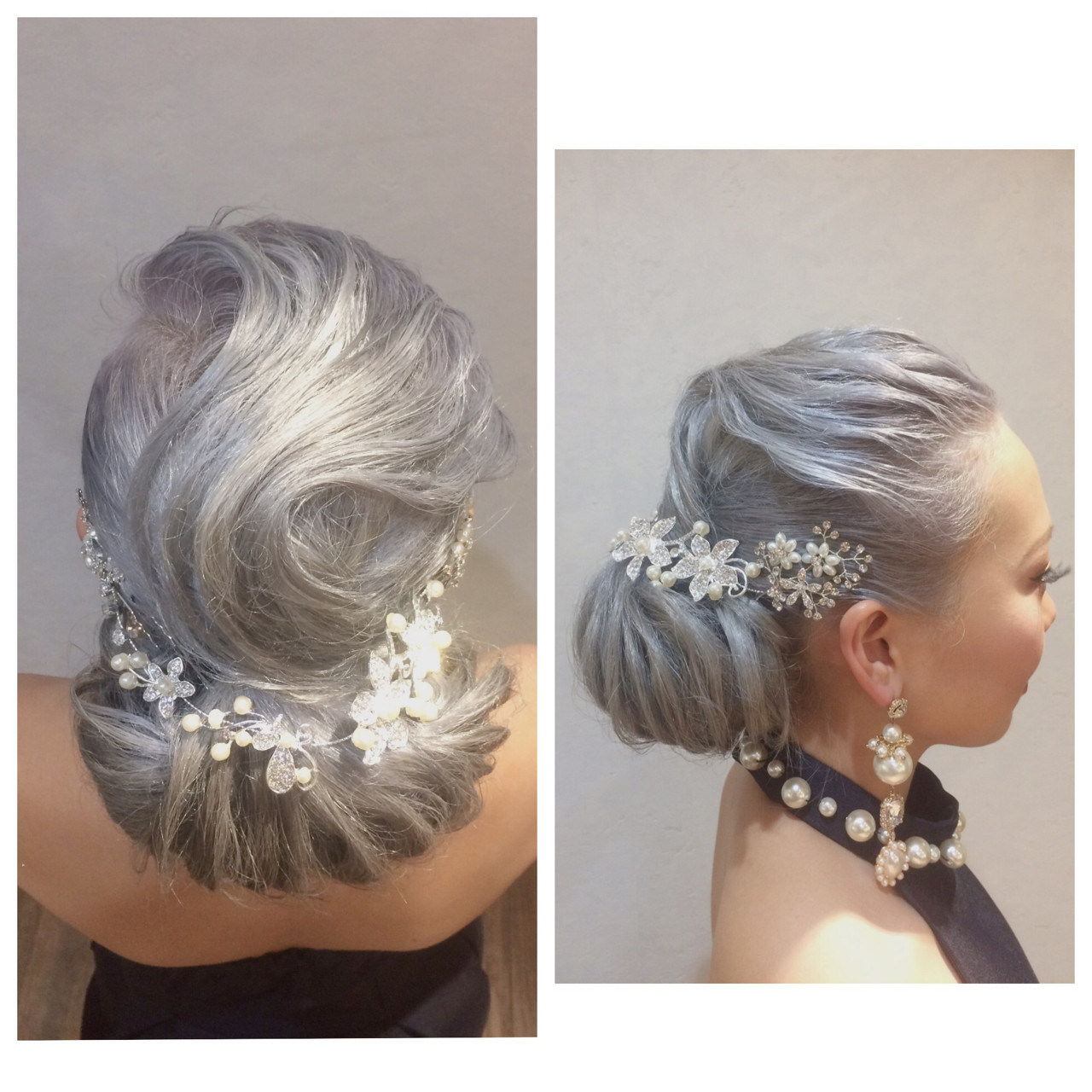 シルバーアッシュ ロング アップスタイル パーティ ヘアスタイルや髪型の写真・画像