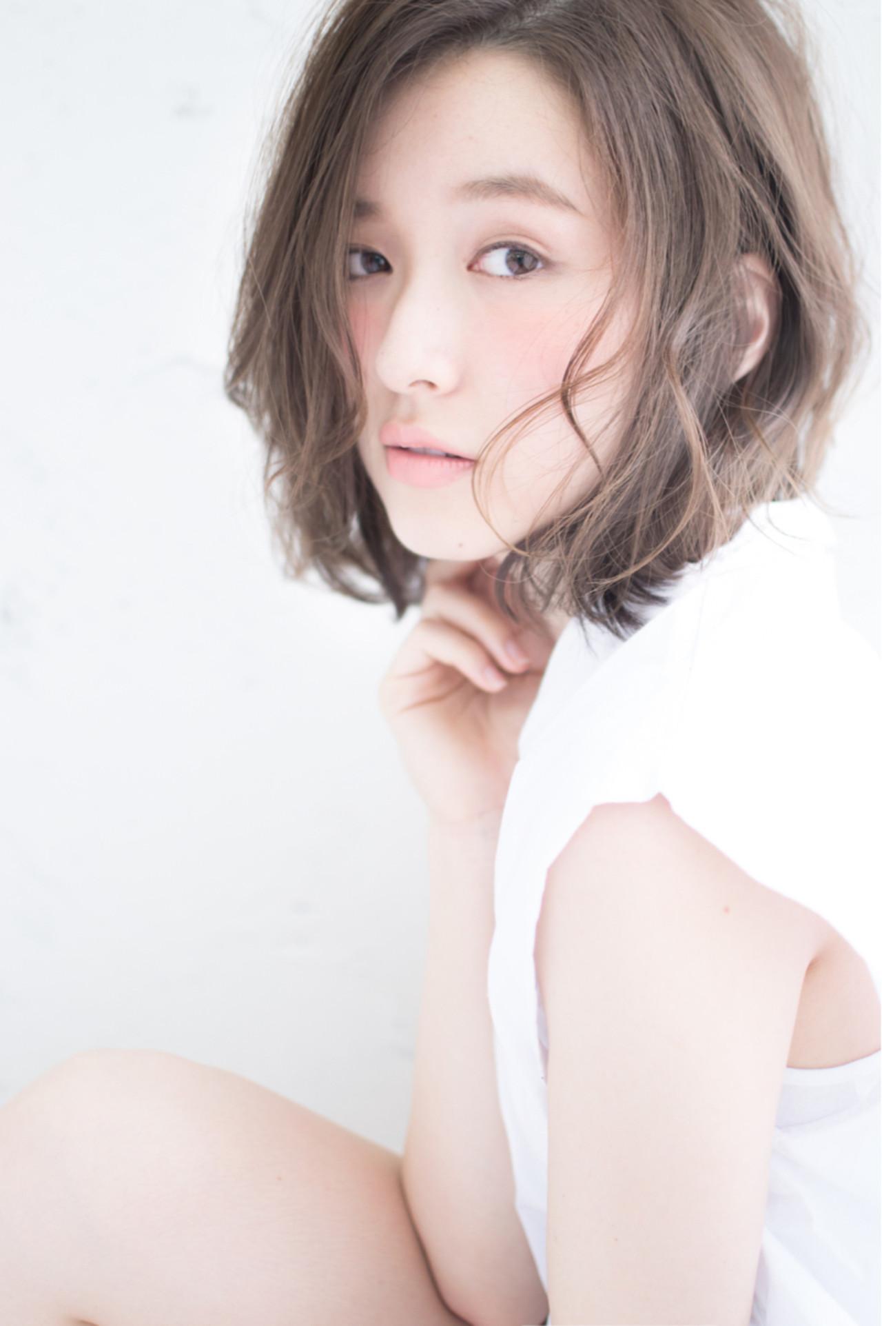 爽やか ラフ ミディアム 大人かわいい ヘアスタイルや髪型の写真・画像 | 新垣修平 / CARE shinsaibashi