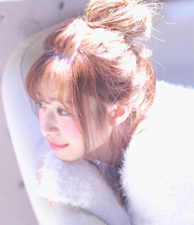 簡単ヘアアレンジ フェミニン ヘアアレンジ お団子 ヘアスタイルや髪型の写真・画像