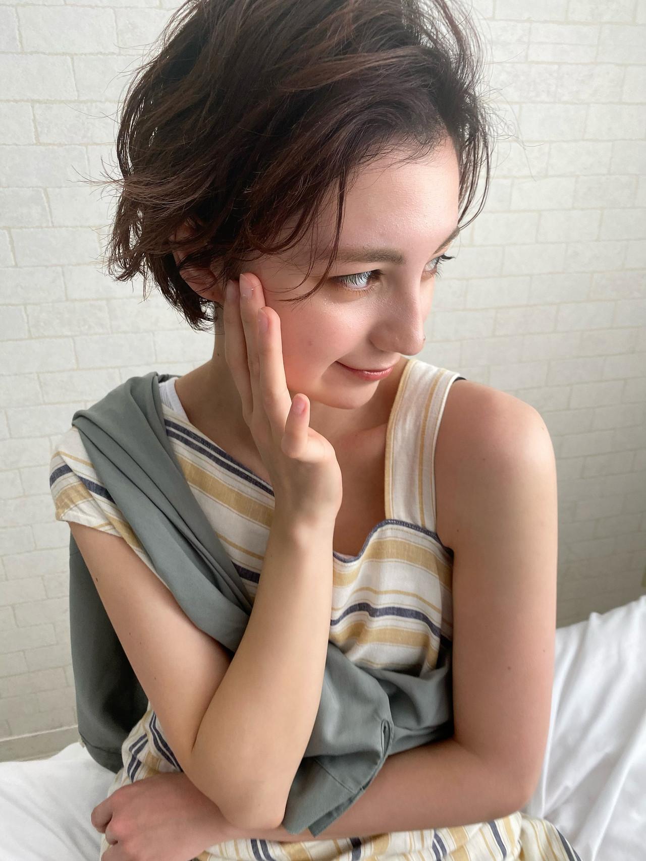 パーマ 大人かわいい ショート ナチュラル ヘアスタイルや髪型の写真・画像 | Mirai / enntaku