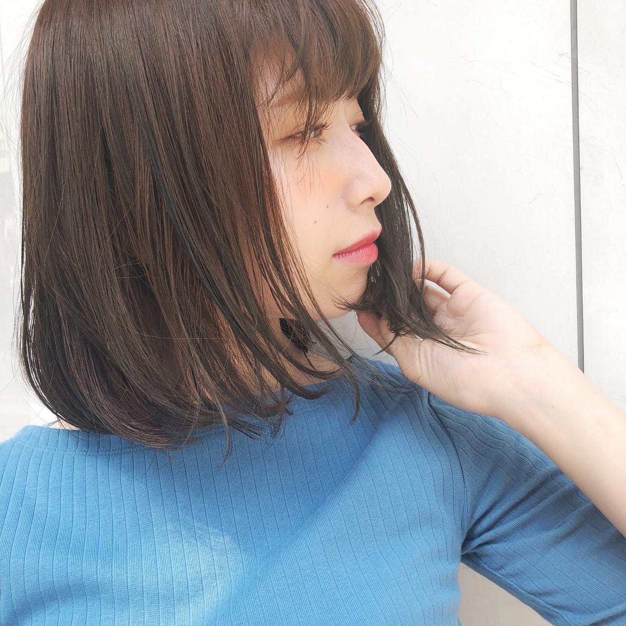 縮毛矯正 ボブ ミディアム オフィス ヘアスタイルや髪型の写真・画像