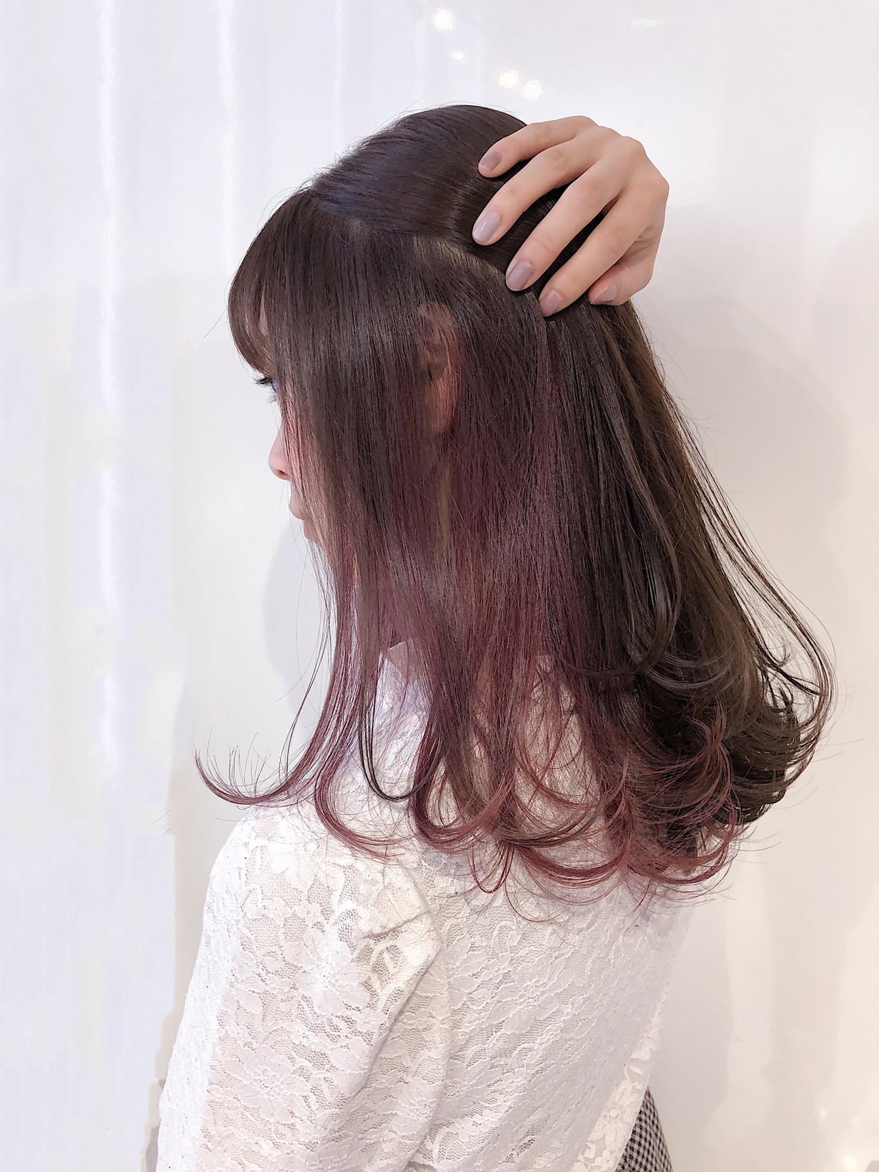 ナチュラル ラズベリーピンク ラベンダーピンク ベリーピンク ヘアスタイルや髪型の写真・画像