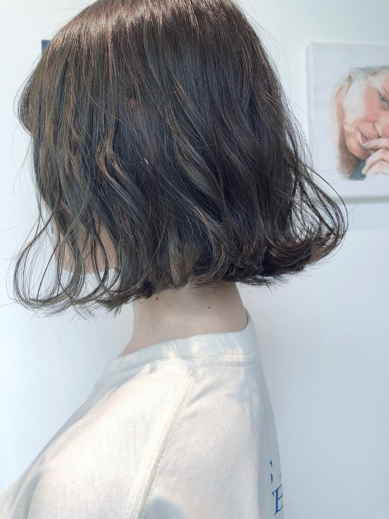 大人かわいい 切りっぱなしボブ ナチュラル 外ハネボブ ヘアスタイルや髪型の写真・画像