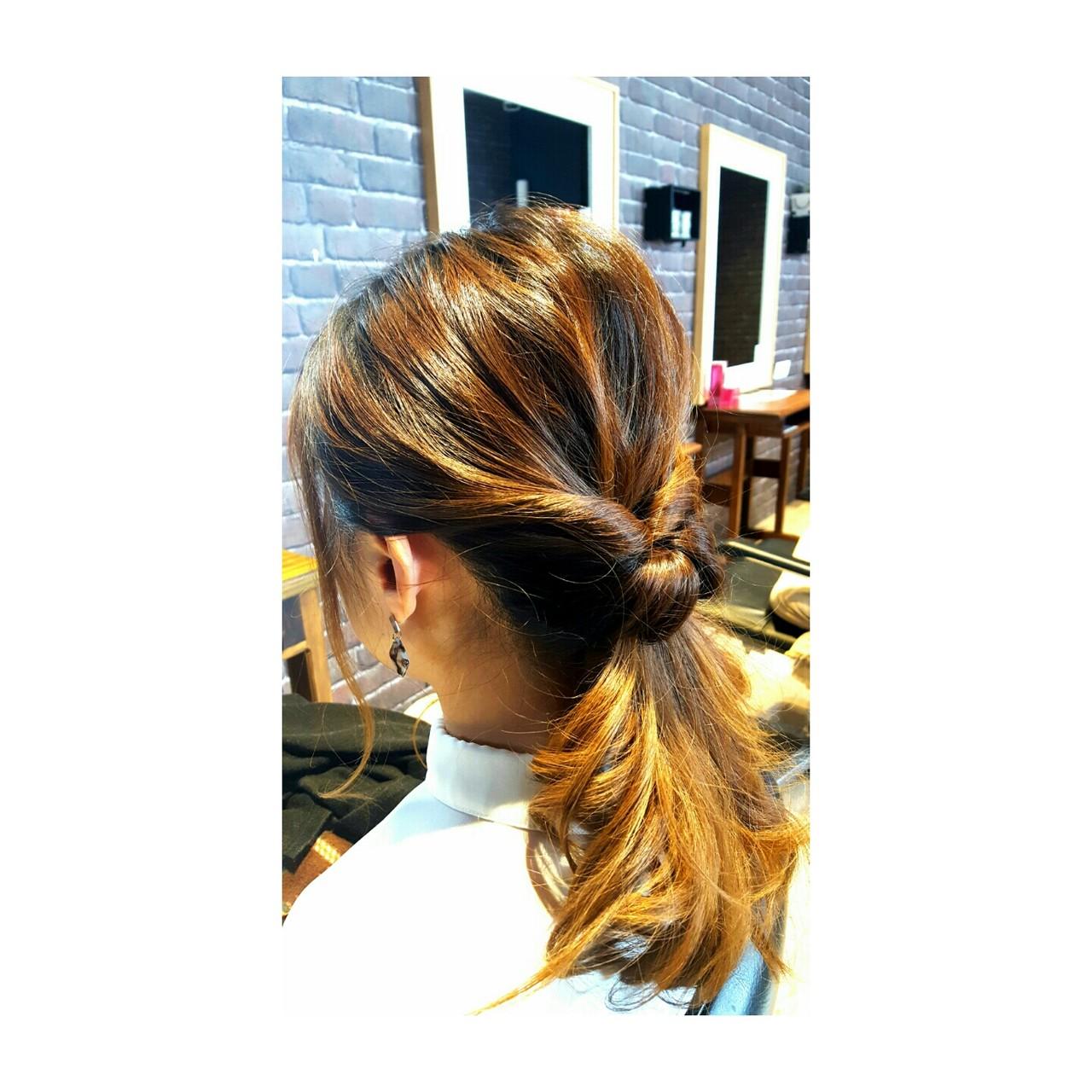 ナチュラル 巻き髪 セミロング 簡単ヘアアレンジ ヘアスタイルや髪型の写真・画像