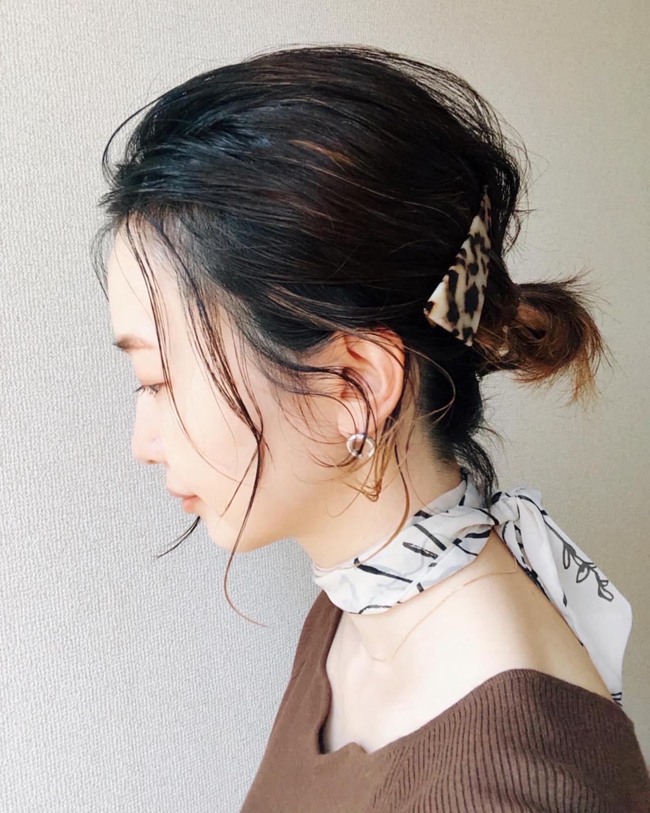 ナチュラル ヘアアレンジ ミニボブ 切りっぱなしボブ ヘアスタイルや髪型の写真・画像