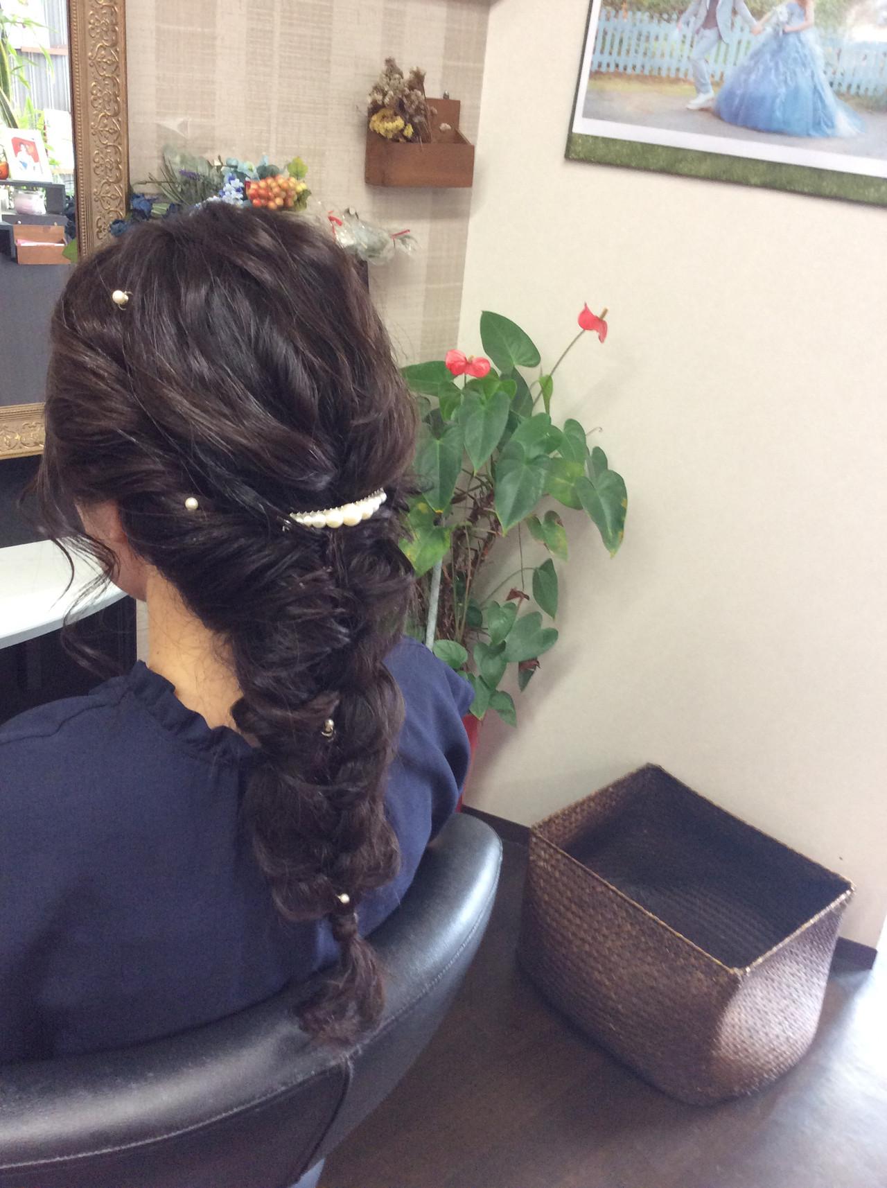 デート ヘアアレンジ ロング 結婚式 ヘアスタイルや髪型の写真・画像 | rumiLINKS美容室 / リンクス美容室