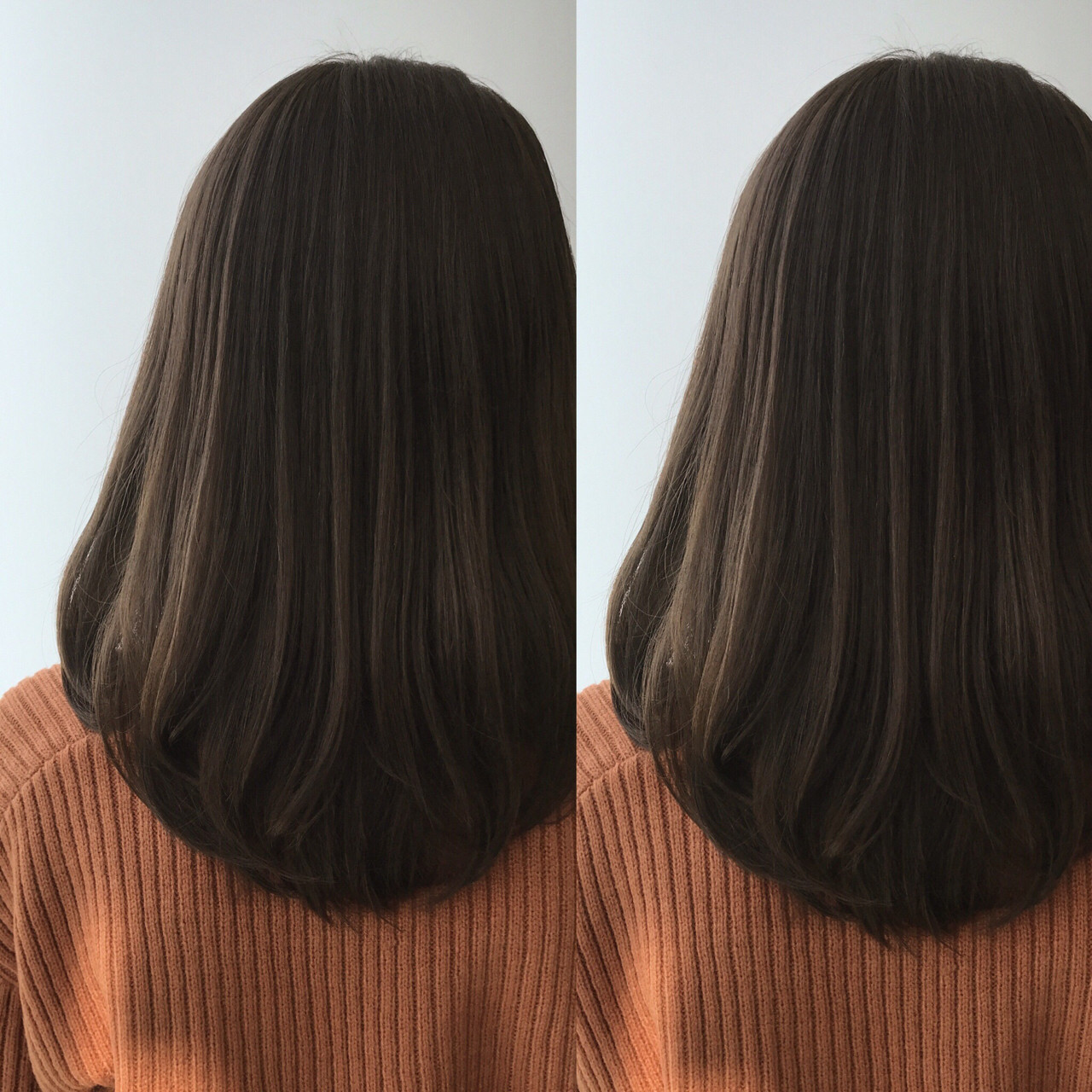 アッシュ オフィス グレージュ ロング ヘアスタイルや髪型の写真・画像