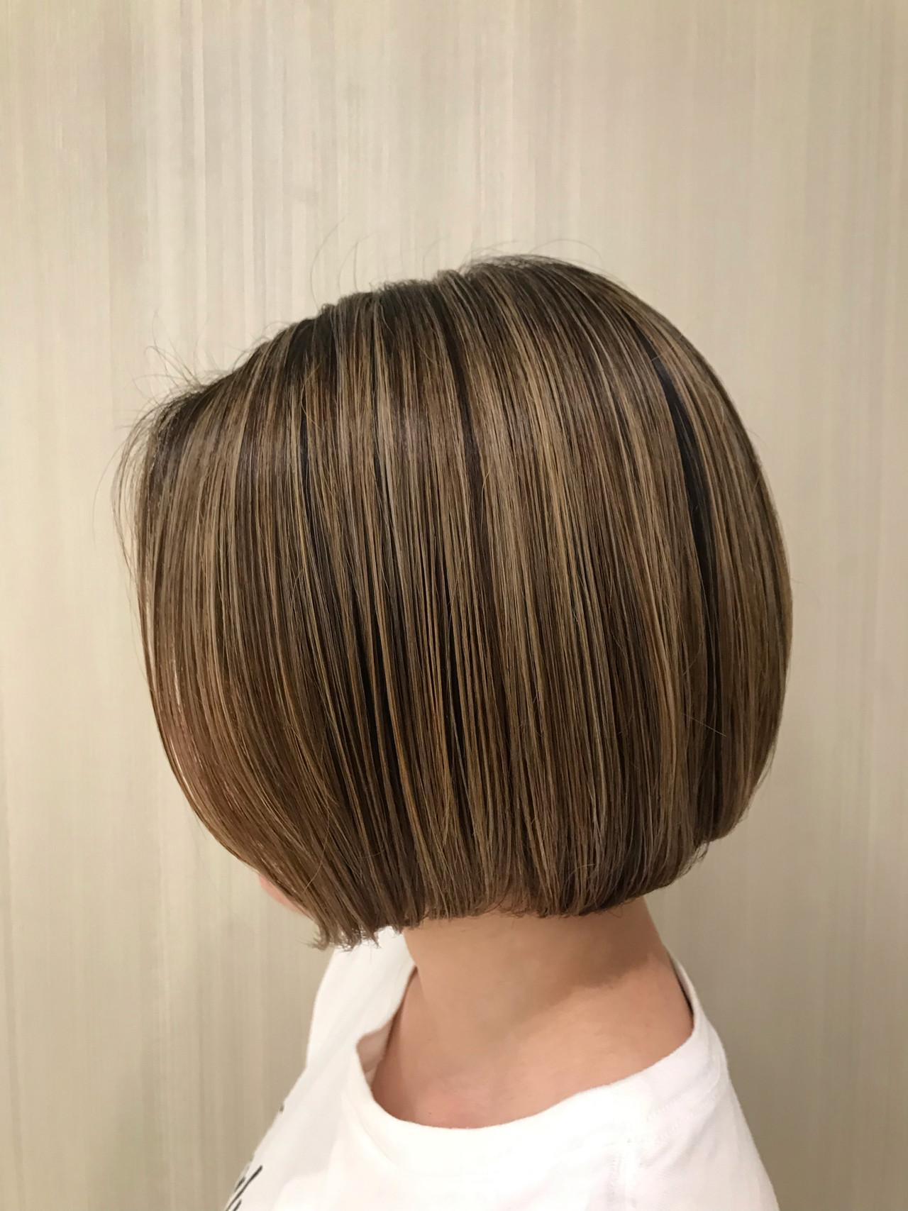 ボブ 簡単スタイリング ハイライト モテボブ ヘアスタイルや髪型の写真・画像