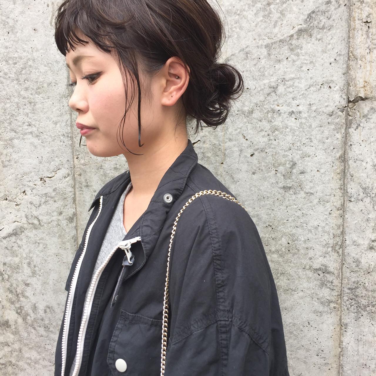 秋 ヘアアレンジ シニヨン ルーズ ヘアスタイルや髪型の写真・画像
