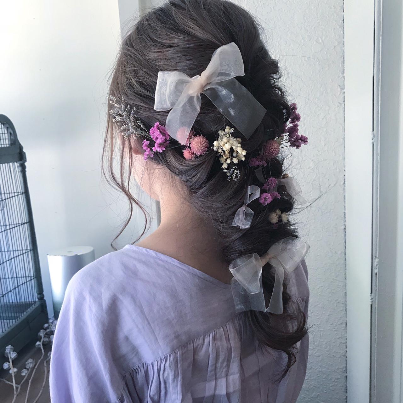 ヘアアレンジ 編み込み ガーリー 花嫁 ヘアスタイルや髪型の写真・画像