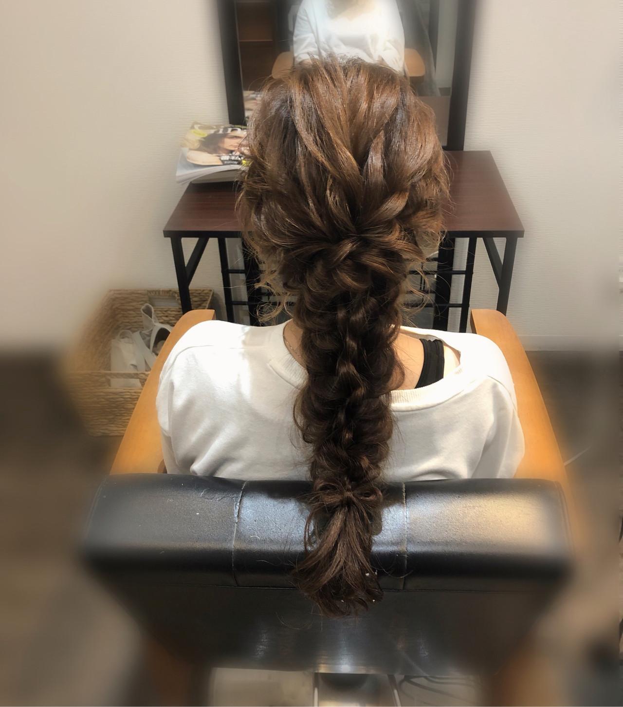 ロング フェミニン 編みおろしヘア 結婚式 ヘアスタイルや髪型の写真・画像
