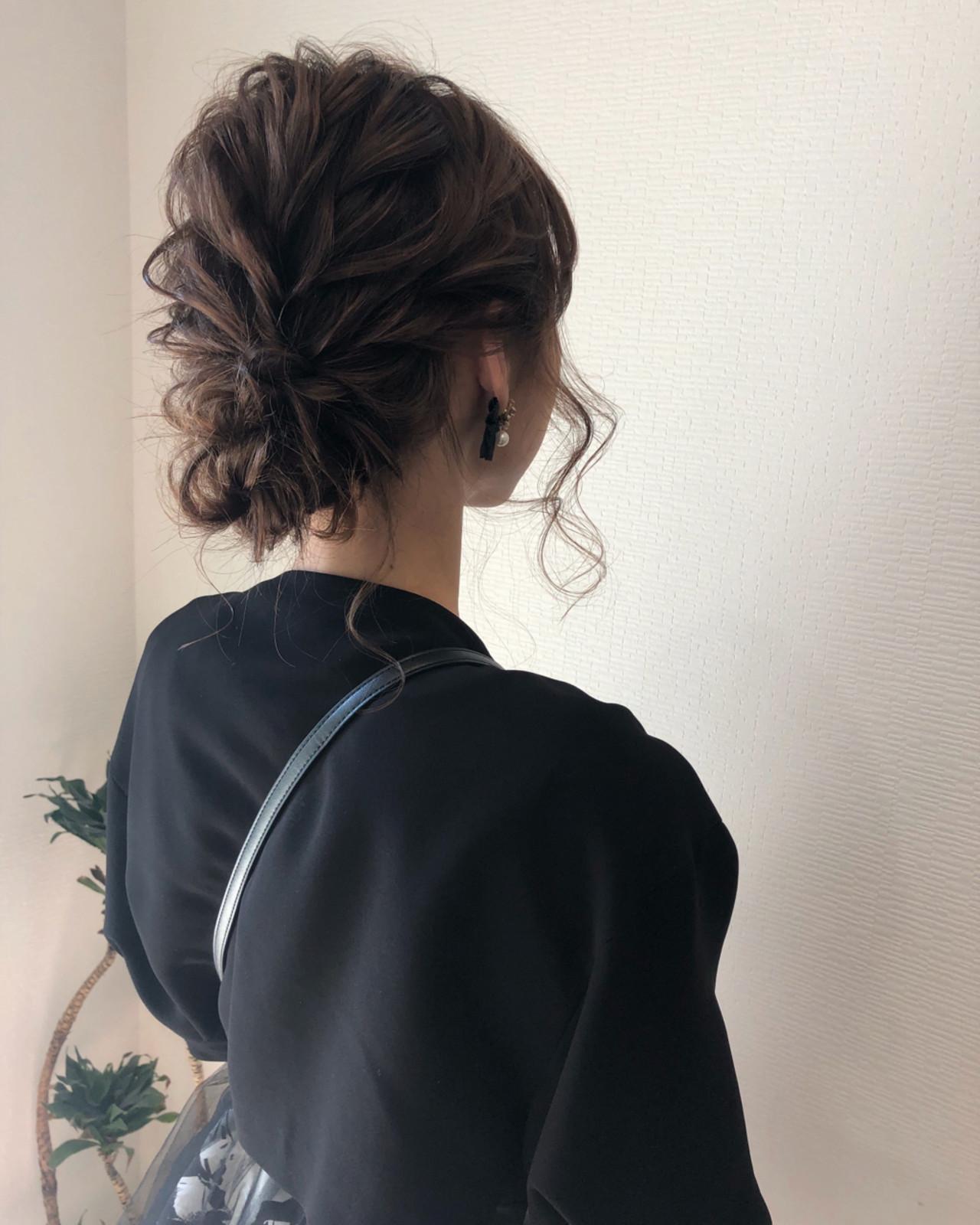 アップスタイル パーティ ミディアム ヘアアレンジ ヘアスタイルや髪型の写真・画像