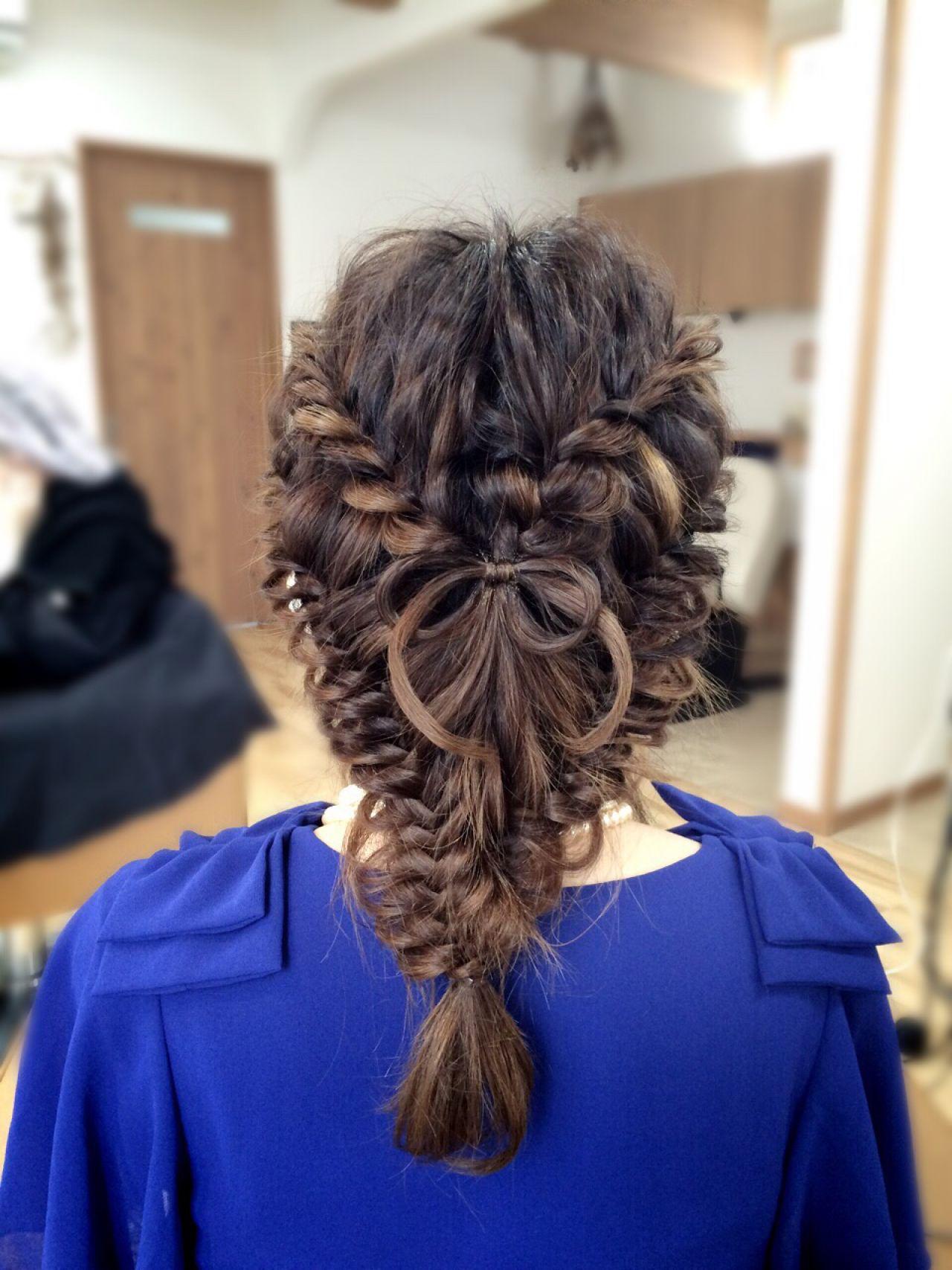 コンサバ ロング フィッシュボーン アップスタイル ヘアスタイルや髪型の写真・画像 | 花原 直樹 / bench-hair(ベンチヘアー)