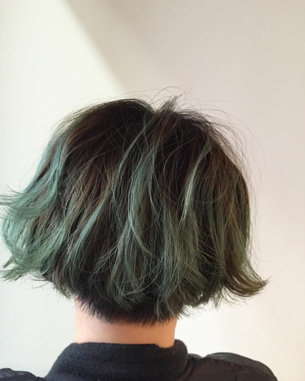 グラデーションカラー ストリート ボブ グリーン ヘアスタイルや髪型の写真・画像