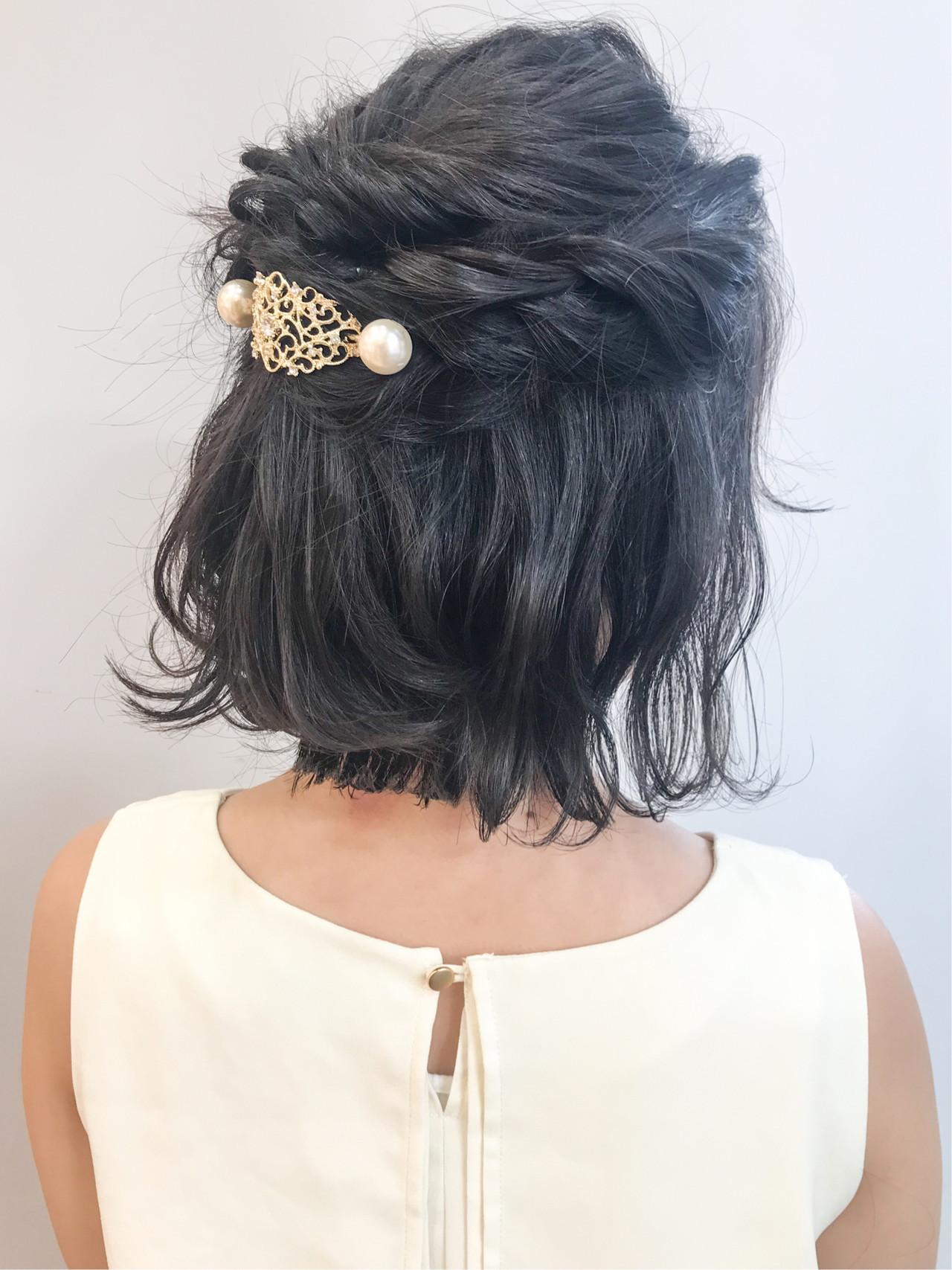 ボブ 外ハネ ガーリー 簡単ヘアアレンジ ヘアスタイルや髪型の写真・画像